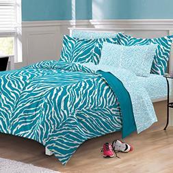 My Room Zebra Ultra Soft Microfiber Comforter Sheet Set, Aqu