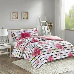 Comfort Spaces - Zoe Comforter Set - 4 Piece  Cute Pink Flor