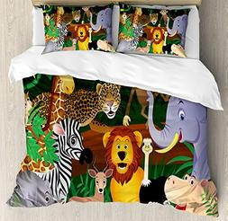 Ambesonne Zoo Duvet Cover Set Queen Size, Animals in The Jun