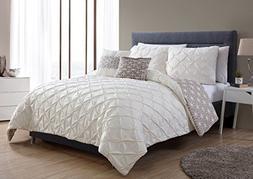VCNY Home ZRH-5CS-FUQU-IN-TA Zarah Pretty Pin tuck Comforter