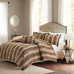 Madison Park Zuri King Size Bed Comforter Set - Tan, Animal